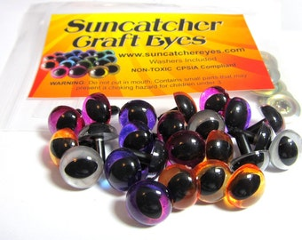 12 Pair of 9mm Cat (oval pupil) Suncatcher Craft Eyes in Translucent Gold, Purple, Pink, and Silver