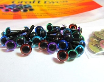 15 Pair of 6mm Suncatcher Craft Eyes in Translucent Blue, Sky Blue, Green, Brown, and Purple