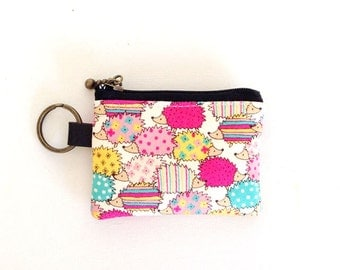 Key/coin purse  - hedgehog pink shade