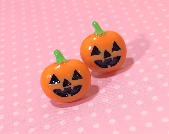 Featured listing image: Pumpkin Stud Earrings, Halloween Earrings, Orange and Black Pumpkin Earring, Whimsical Smiling Halloween Carved Pumpkin Stud, Surgical Steel
