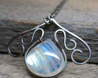 I am the Sea necklace ... metalwork / antiqued sterling silver / rainbow moonstone