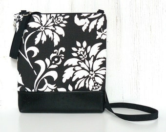 Crossbody Bag, Fabric Cross Body Purse, Zipper Hip Bag in Black and White Floral