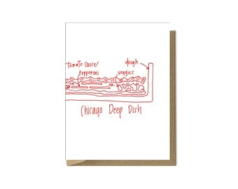 Chicago deep dish pizza card Pizza Notecard Pizza Lover Chicago greeting card stationery