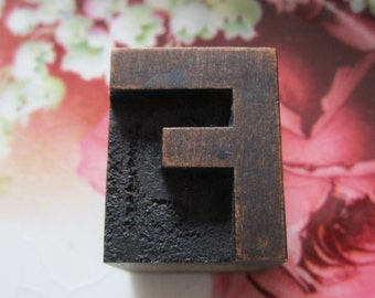 Antique Letterpress Wood Type Printers Block Letter F