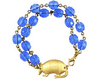 Armadillo Bracelet, Blue Statement Bracelet, Armadillo Jewelry, Unique Jewelry, Armadillos, Blue Glass Bracelet, Fun Jewelry, Texas Jewelry