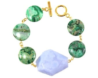 Statement Bracelet, Gemstone Bracelet, Green Bracelet, Blue Bracelet, Geometric Jewelry, Statement Jewelry, Colorful Statement Jewelry