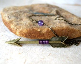 Aquarius Arrow Necklace - Bronze Arrow - Arrow necklace  - amethyst purple wire wrapped arrow - February Birthstone - birthstone jewelry