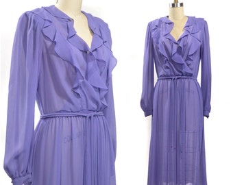 Candied Violet Ruffled Sheer Crepe Dress | 1970s 1980s Jody California Wrap Top Dream Dress | Size Medium