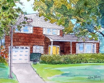 "House Portrait Watercolor and Ink Painting, 11"" x 14"" with mat, ready to frame"