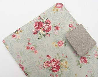 iPad Mini Cover Nook Simple Touch Cover Kindle Fire Cover Kobo Cover Case Aqua Pink Roses Romantic Floral Flowers eReader Katydidstitches