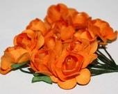 Dark Orange Mulberry Paper Roses Small Invitation Flowers Miniature Roses - 6 Dozen