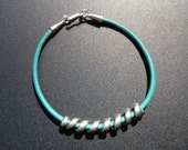 Turquoise leather bracelet with spiral slider