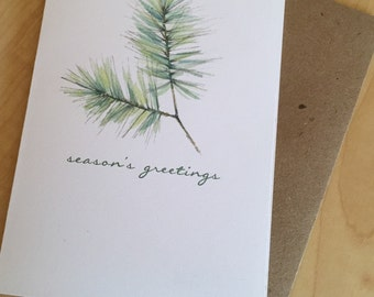 Season's Greetings Cards - White Pine Holiday Watercolor Cards - Botanical Holiday Cards - Pine Christmas Cards - Box of 6