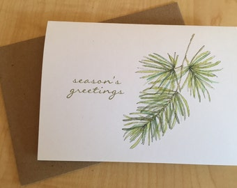 Watercolor Jack Pine Holiday Cards - Pine Tree Holiday Cards - Season's Greetings - Holiday Watercolor Cards - Christmas Cards - Box of 6