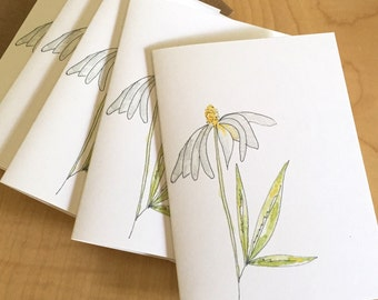 Watercolor Floral Blank Note Cards - Prairie Coneflower Cards - Wildflower Note Cards - Botanical Note Cards - Box of 6