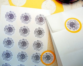 "Sunflower Stickers - 1"" One Inch Round Sticker Envelope Seals - B&W, Sheets of 15 - by Blossom Arts"