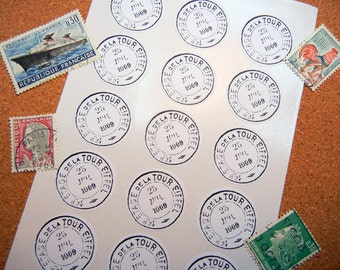 "Antique French Postmark Sticker - 1"" One Inch Round Sticker Envelope Seals - B&W, Sheets of 15 - by Blossom Arts"