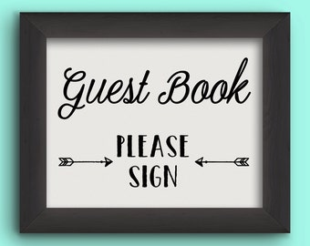 GUEST BOOK Arrows Wedding Reception Sign - Instant Graphic Digital Download - You Print - 2 sizes, 4 files included