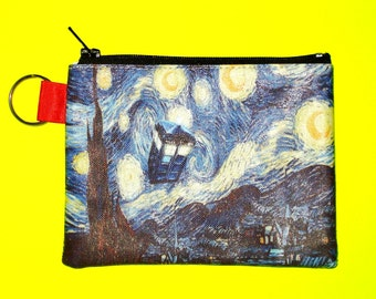 LAST ONE! Doctor Who Van Gogh Starry Night TARDIS Zippered Pouch Coin Purse Cosmetic Case