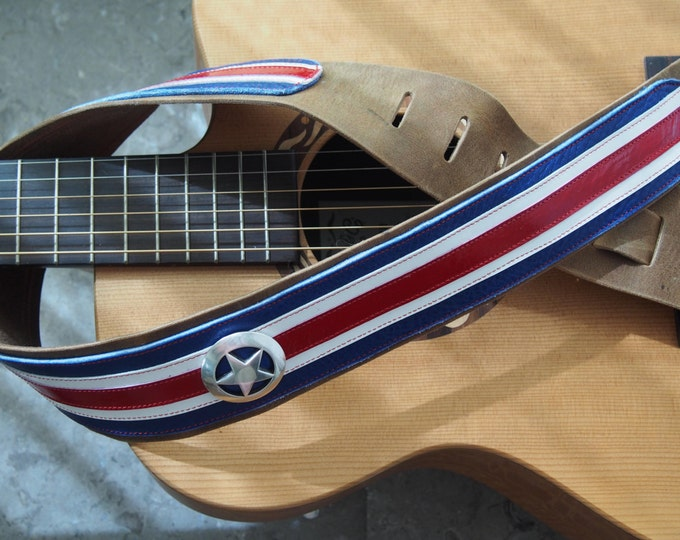 Captain America inspired Leather Guitar Strap