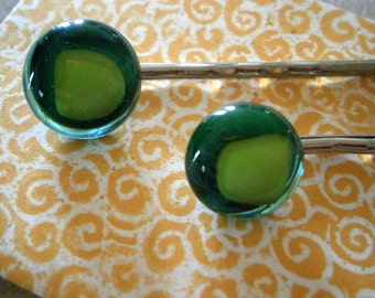 Fused Glass Bobbi Pins in Teal and Lime, Glass Bobby Pins, Accessories, Bobbi Pins, Willow Glass