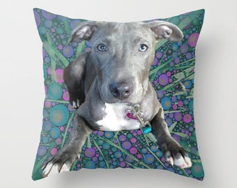 Custom Photo Pillow, Blue Bubble Backround, Dog Lover Gift