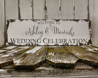WELCOME WEDDING SIGN | Customized | Shabby Chic Wood Wedding Sign | Wedding Ceremony Decor | Reception Decor