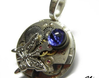 Steampunk BUTTERFLY Vintage Old Watch Dichroic Glass Altered Mixed Media Slide Pendant with Necklace