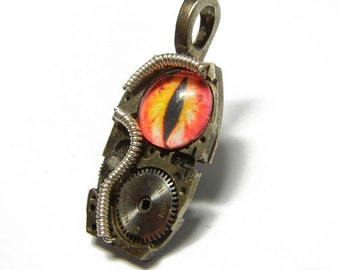Steampunk RED EVIL EYE Vintage Old Watch Altered Mixed Media Slide Pendant with Necklace