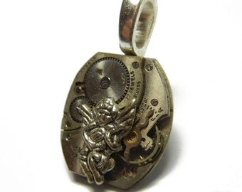 Steampunk Mini GUARDIAN ANGEL Vintage Old Watch Altered Mixed Media Slide Pendant with Necklace