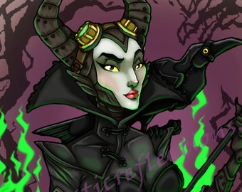 Steampunk Maleficent with Flames and Thorns Art Print