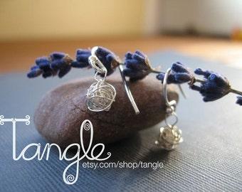 Sterling Silver Tangled Ball Dangle Earrings