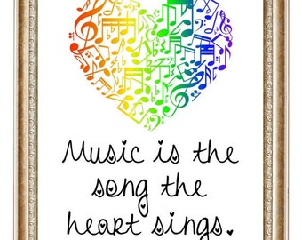 Music is the Song the Heart Sings - Digital Art - Instant Download