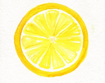 Original Lemon Watercolor Painting, 5 x 7  Artwork, Lemon wall art, lemon illustration, lemon kitchen decor, watercolor Farmhouse Decor