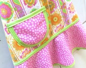 Kids Apron, Little Girls Apron, Child Apron, Toddler Apron,Teen Apron,  Pink, Tangerine & Lime Floral Apron  - BLOOM FLORAL