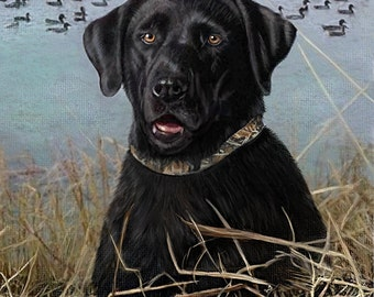 Custom Pet Portrait, Realistic pet art, hand painted, digital painting, on paper, from photo, Black Lab portrait, made in USA, pet memorial