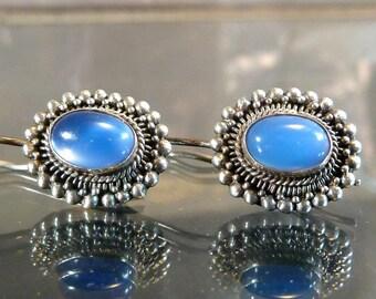 Blue Chalcedony Flower Earrings in Sterling Silver oval cabochon small cornflower