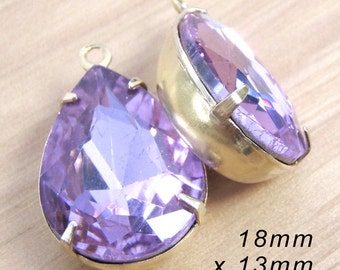 Light Amethyst Glass Beads, Pear or Teardrop, Golden Brass Settings, Rhinestone Jewels, 18mm x 13mm, One or Two Rings, Glass Gems, One Pair