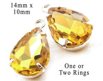 Golden Topaz Glass Beads, Pear or Teardrop, Silver Plated Brass Settings, 14mm x 10mm, Glass Gems, Cabochon, Rhinestone Jewels, One Pair