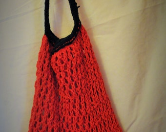 Amazing Stretchy Knitted Carry All -  Red and Black