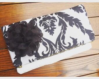 Black Damask Clutch Bag, Damask Black Clutch Handbag, Fold Over Clutch Pouch, Black Evening Bag, Zippered Pouch, Damask Clutch Purse Bag