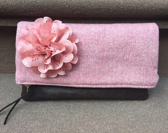 Pink Herringbone Leather Foldover Clutch Bag, Pink Clutch Handbag, Fold Over Pouch, Evening Bag, Leather Pouch, Wool Clutch Purse Bag