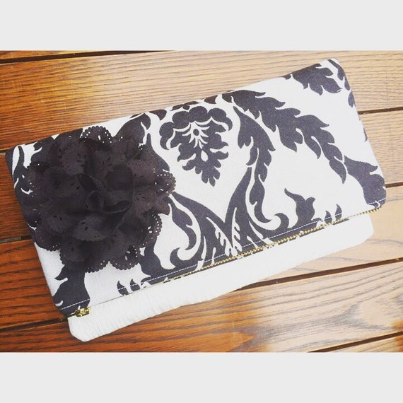 Damask Women's Clutch Purse, Black and White Fold-Over Clutch Bag, Evening Bag, Evening Clutch