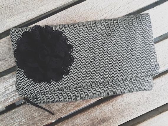 Wool Tweed Black Clutch Purse, Zippered Clutch Bag, Fold Over Clutch, Black Evening Bag, Handmade Clutch