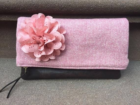 Wool Tweed Pink Leather Clutch, Fold Over Clutch Bag, Clutch Purse, Pink Evening Bag, Women's Clutch