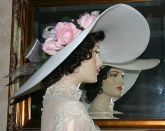 "Kentucky Derby Hat Southern Belle Hat Victorian Hat Tea Hat Ascot Hat ""Sweethear of Charlotte"" One of a Kind White Hat"