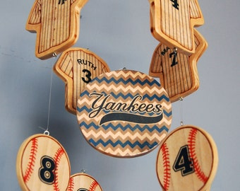 Baby Mobile - Baseball Mobile - New York Yankees Wooden Baby Mobile