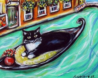 Tuxedo Cat art Venice Italy gondola original cat painting