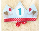 CIRCUS elephant and balloon felt Birthday Crown