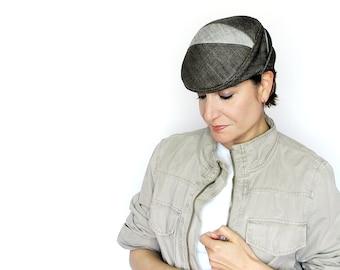 Brown cotton denim driving cap, brimmed cloche hat or spring beret, handmade millinery for women by independent designer : Switchback